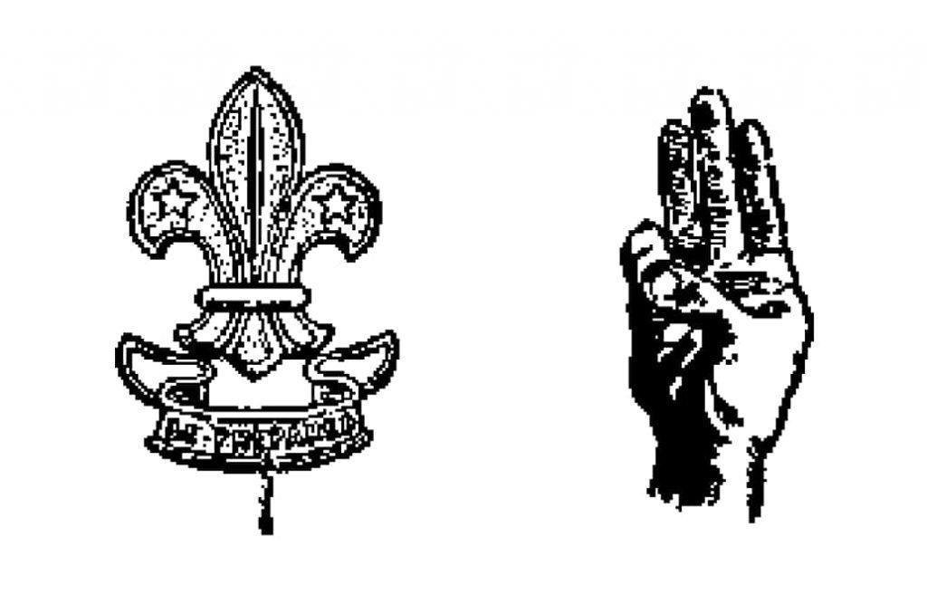 Los tres puntos del logo de los Scouts apuntan a las tres promesas del movimiento scout, la Lealtad, la Abnegación y la Pureza